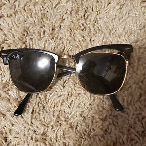 Ray-Ban Clubmaster Black and Gold Sunglasses
